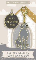 Great Dane Collar Charm and Keychain Set