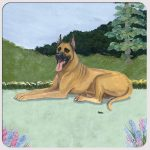 Great Dane Yard Scene Coasters Set of 4 Brown