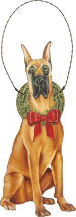 Great Dane Wood Bow Ornament