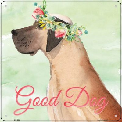 "Great Dane ""Good Dog"" Metal Sign Fawn"