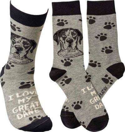 I Love My Great Dane Socks By Kathy