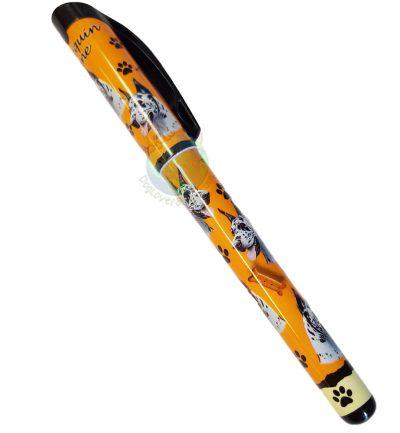 Harlequin Great Dane Writing Pen Orange in Color