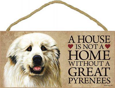 Great Pyrenees Wood Dog Sign Wall Plaque Photo Display 5 x 10 + Bonus Coaster