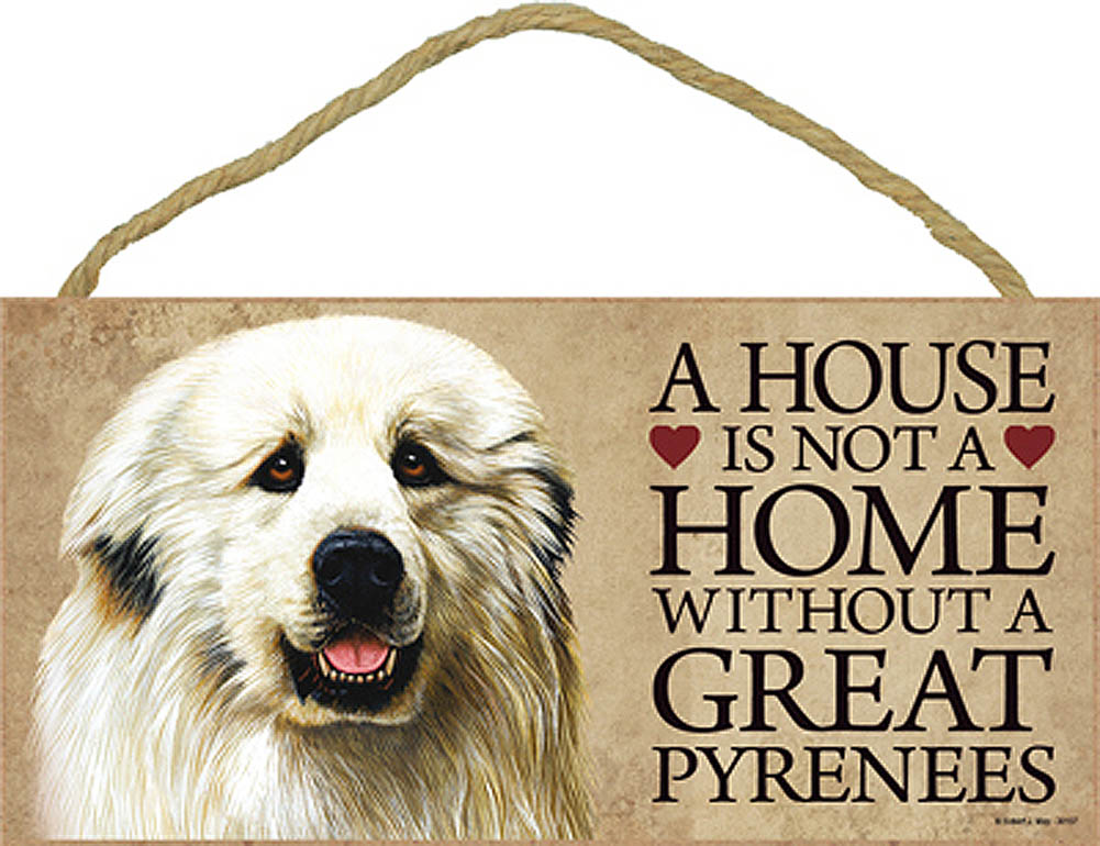 Great Pyrenees Wood Dog Sign Wall Plaque Photo Display 5 x 10 + Bonus Coaster