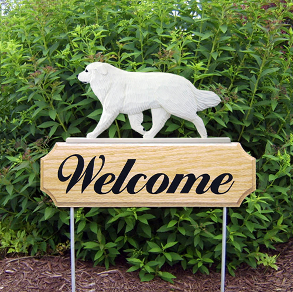 Great Pyrenees Outdoor Welcome Garden Sign White in Color
