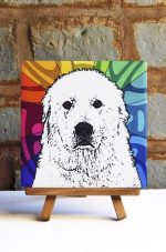 Great Pyrenees Colorful Portrait Original Artwork on Ceramic Tile 4x4 Inches