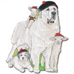 Great Pyrenees Wooden Magnet Family