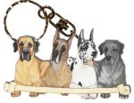 Great Dane Wooden Dog Breed Keychain Key Ring