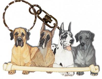 Great Dane Wooden Dog Breed Keychain Key Ring 1