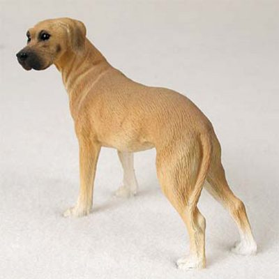 Great Dane Hand Painted Collectible Dog Figurine Fawn Uncropped 1