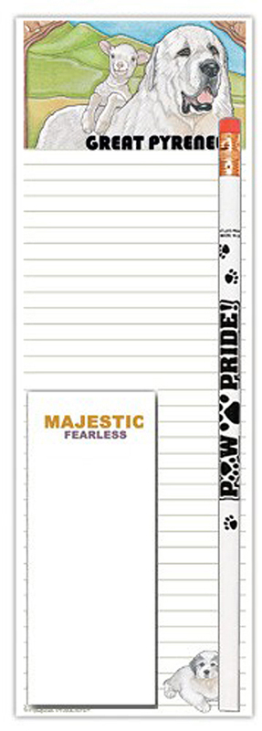 Great Pyrenees Dog Notepads To Do List Pad Pencil Gift Set