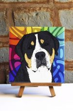 Greater Swiss Mountain Dog Colorful Portrait Original Artwork on Ceramic Tile 4x4 Inches