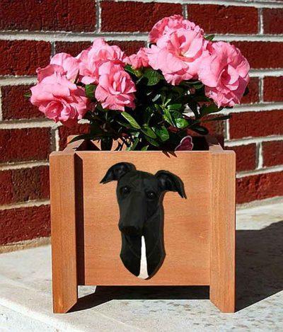 Greyhound Planter Flower Pot Black