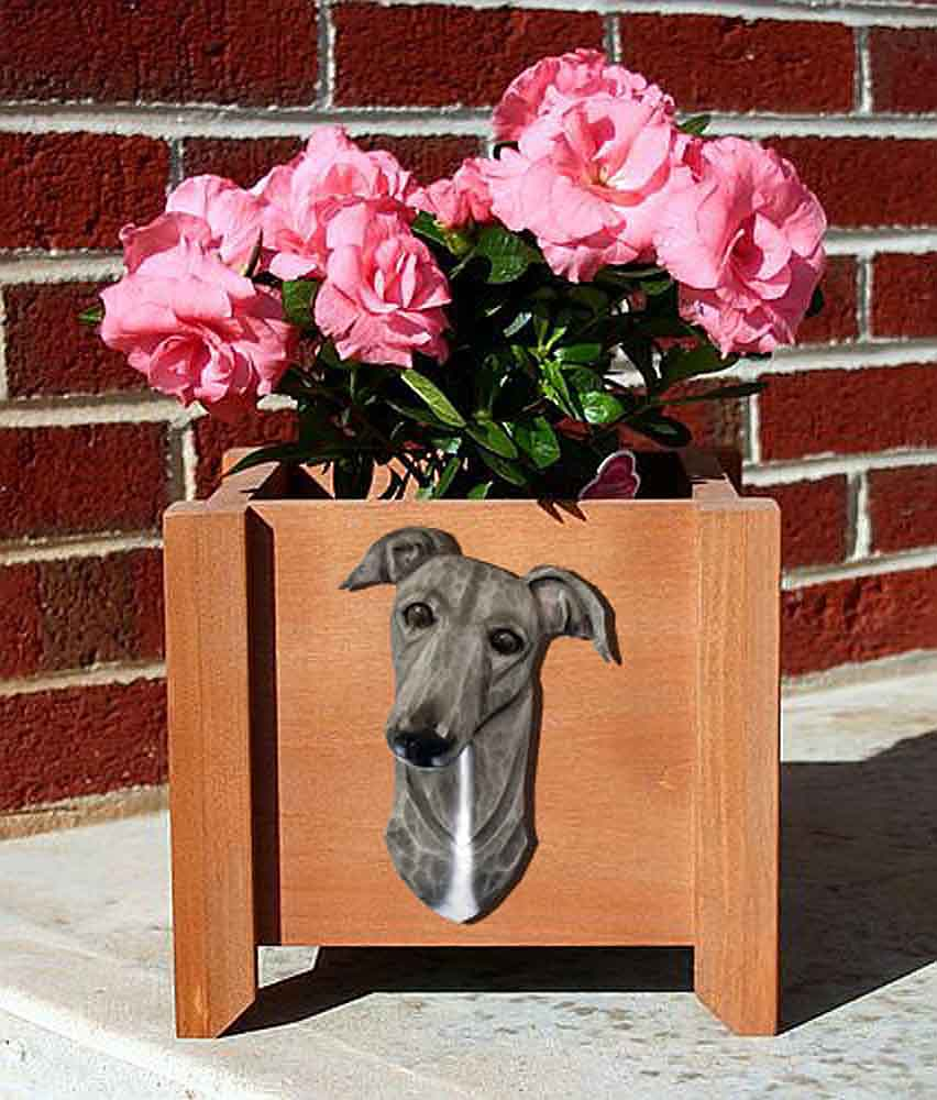 Greyhound Planter Flower Pot Blue