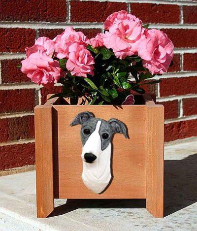 Greyhound Planter Flower Pot Blue White 1