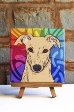 Greyhound Tan Colorful Portrait Original Artwork on Ceramic Tile 4x4 Inches