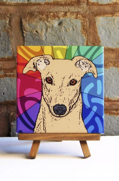 Greyhound Tan Colorful Portrait Original Artwork on Ceramic Tile 4x4 Inches