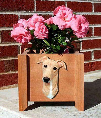 Greyhound Planter Flower Pot Fawn 1