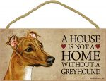 Greyhound Wood Dog Sign Wall Plaque 5 x 10 + Bonus Coaster