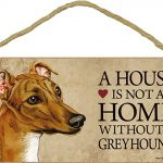 Greyhound Wood Dog Sign Wall Plaque 5 x 10 + Bonus Coaster 1