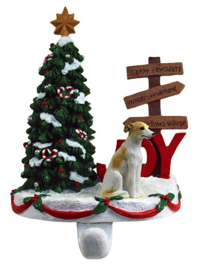 Greyhound Stocking Holder Hanger Tan