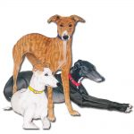 Greyhound Wooden Magnet Family