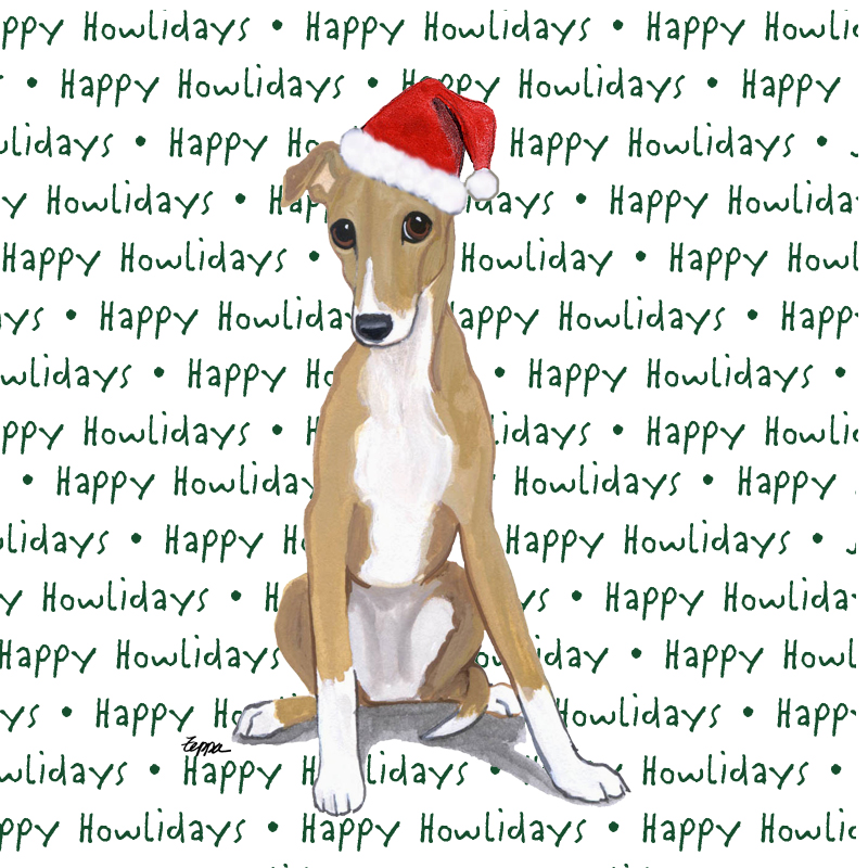 Greyhound Dog Coasters Christmas Themed Puppy
