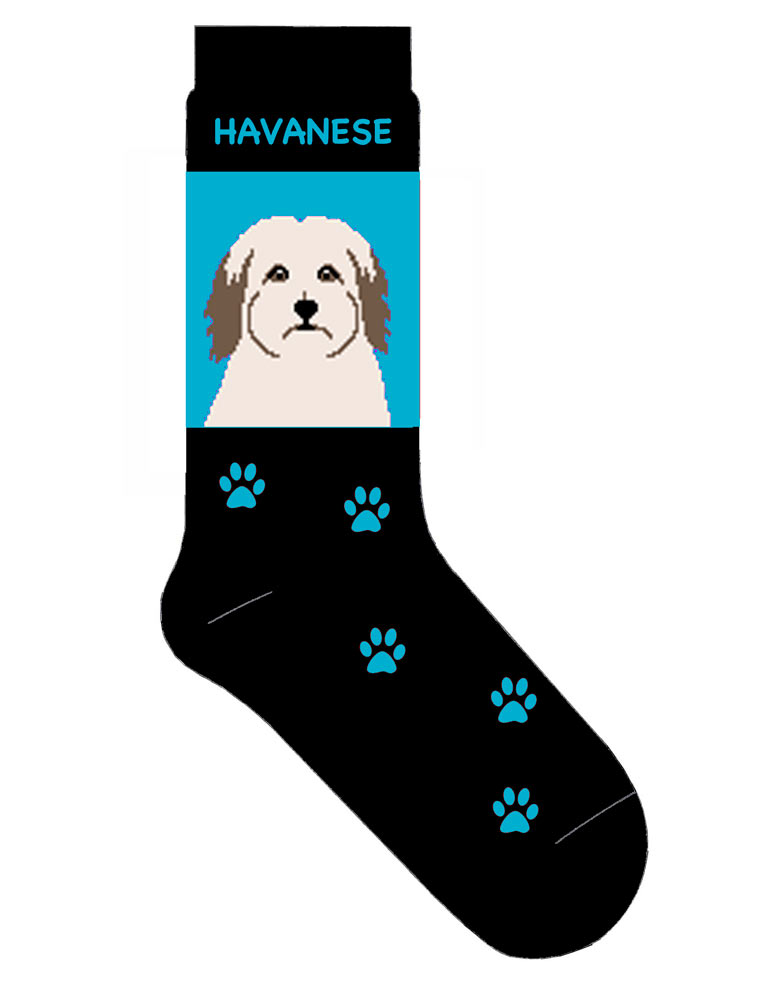 Havanese Socks Lightweight Cotton Crew Stretch Blue