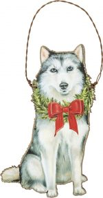 Husky Bow Ornament