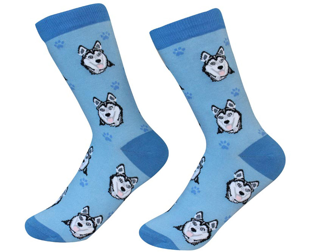 Husky Face Pattern Socks Black & White