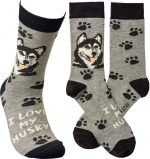 I Love My Husky Socks By Kathy