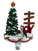 Husky Stocking Holder Hanger Black Blue Eye