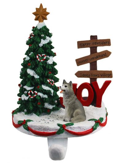 Husky Stocking Holder Hanger Gray