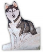 Husky Wooden Magnet Black/White