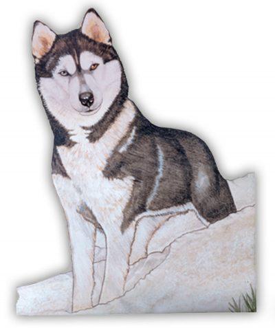 Husky Wooden Magnet Black/White