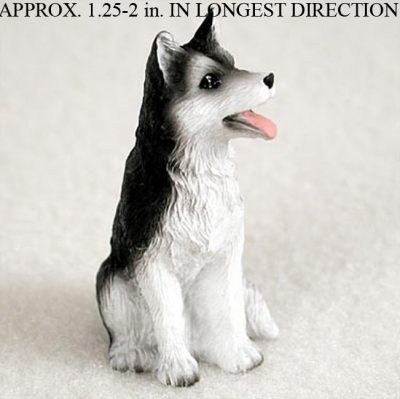 Husky Mini Resin Hand Painted Dog Figurine Black/White Brown Eyed