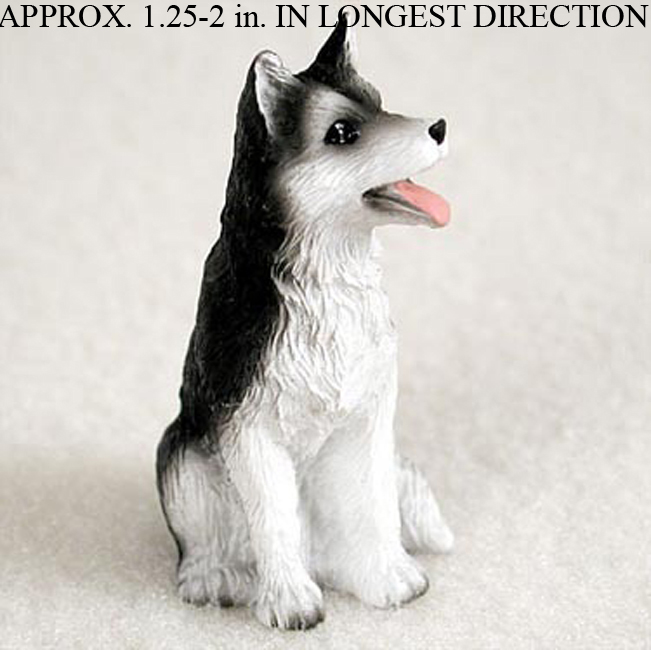 Husky Mini Resin Hand Painted Dog Figurine Black/White Brown Eyed