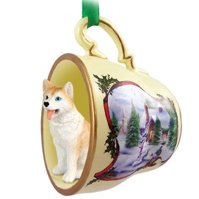 Husky Dog Christmas Holiday Teacup Ornament Figurine Red/White Blue Eye 1