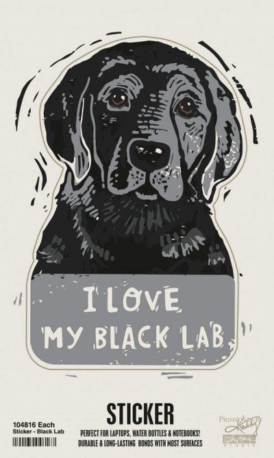 Black Lab Shaped Sticker By Kathy