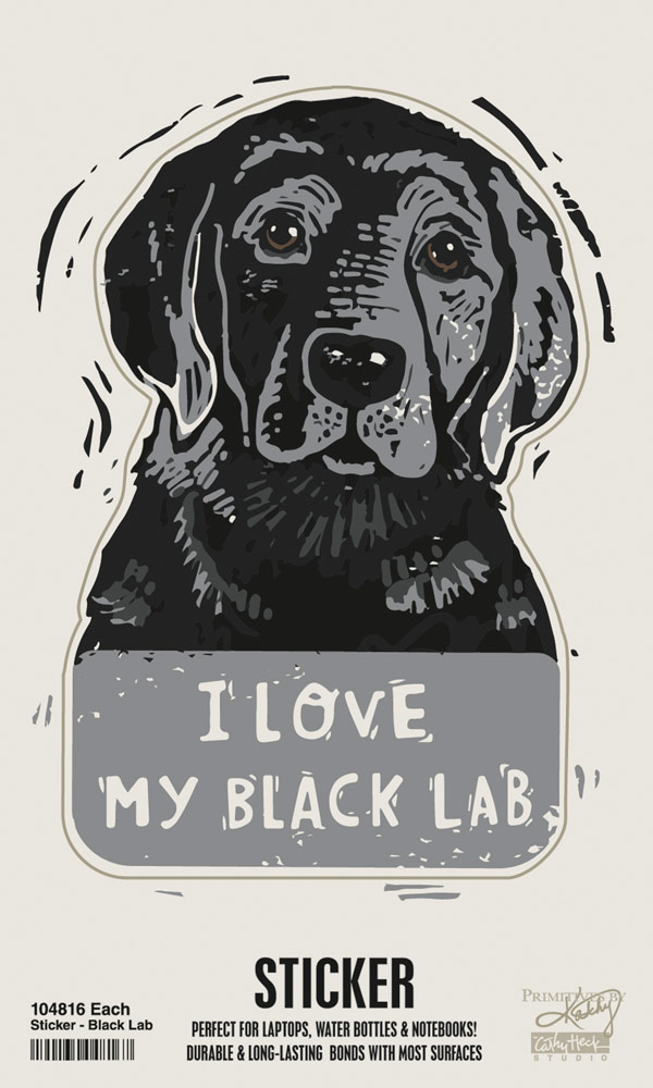 Black Lab Shaped Sticker By Kathy