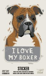 Boxer Shaped Sticker By Kathy Uncropped Ears