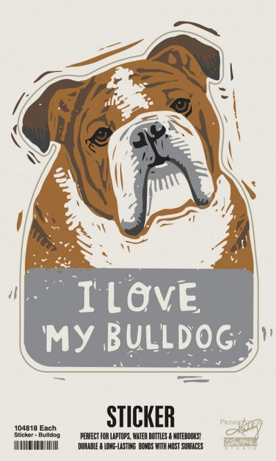 Bulldog Shaped Sticker By Kathy