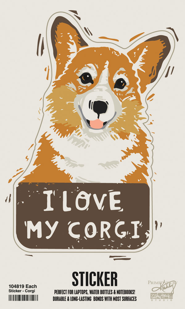 Corgi Shaped Sticker By Kathy Pembroke