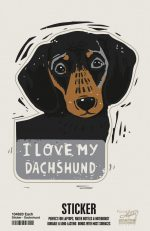 Dachshund Shaped Sticker By Kathy Black