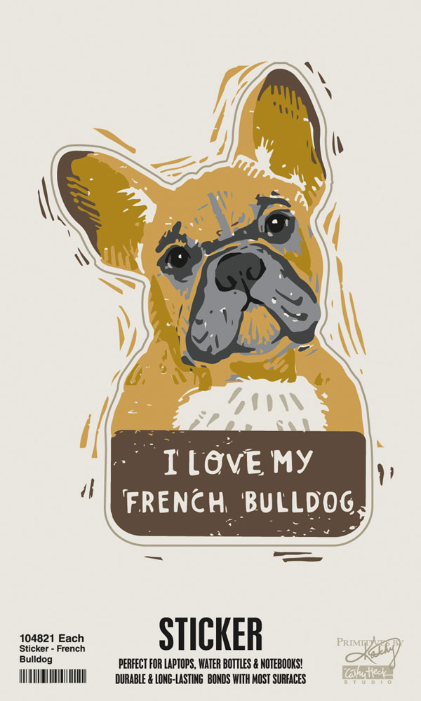 French Bulldog Shaped Sticker By Kathy