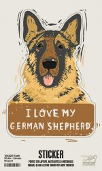 German Shepherd Shaped Sticker By Kathy