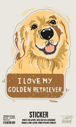 Golden Retriever Dog Shaped Sticker