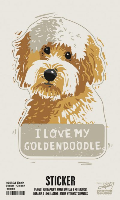Goldendoodle Shaped Sticker By Kathy