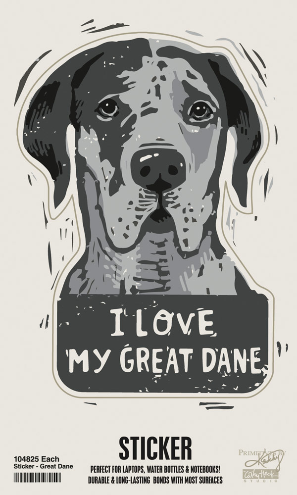Great Dane Shaped Sticker By Kathy