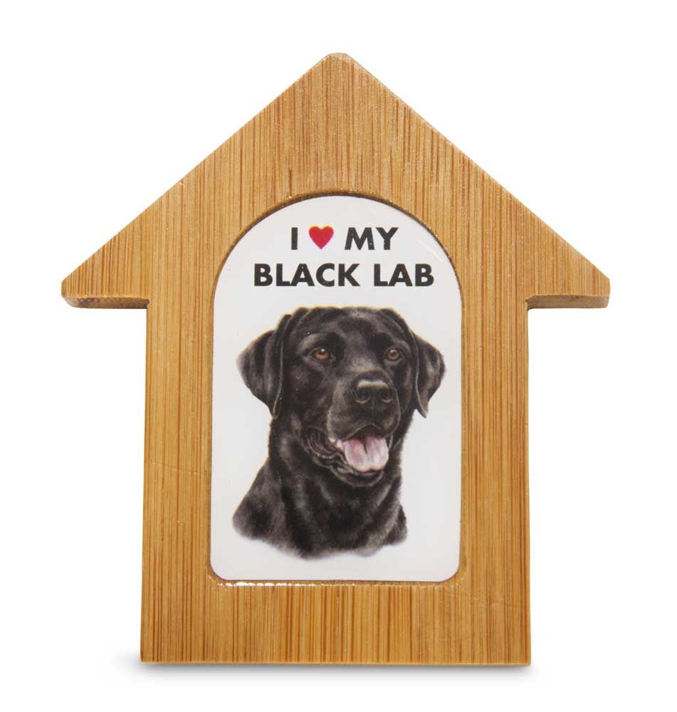 Black lab wooden dog house magnet 3 5 x 3 in self standing for Dog house for labrador retriever